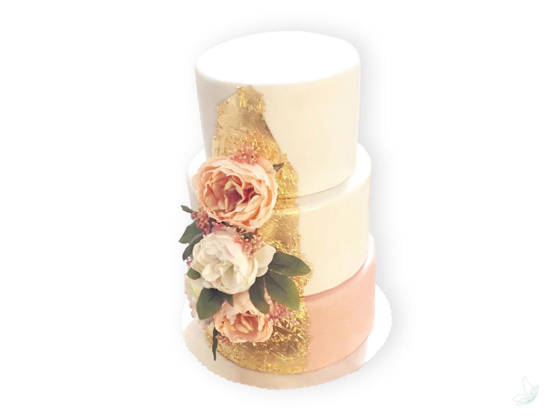 DIY Hochzeitstorte wedding cake Hochzeit Torte 3-stöckig gold rose Vintage, elfenweiss.de elfenweiss