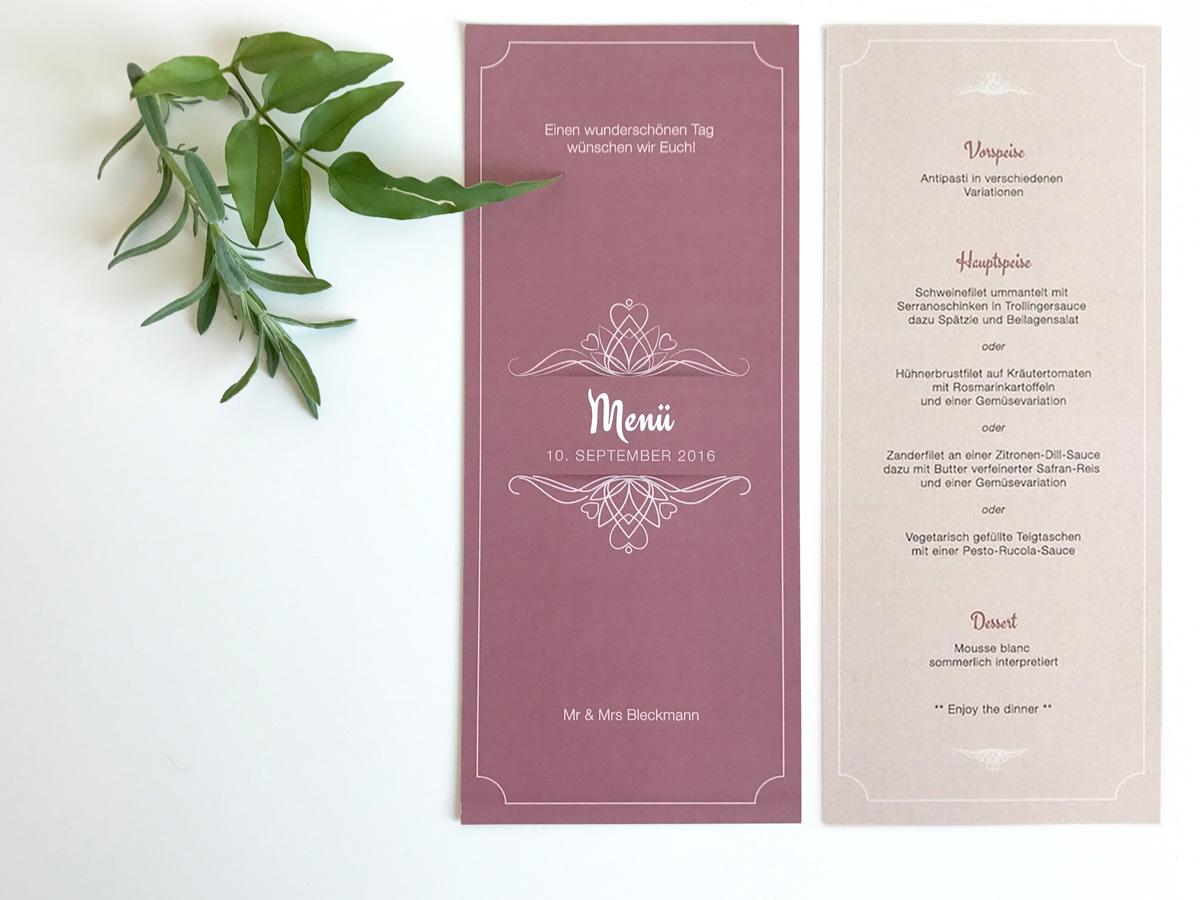 Diy Vintage Menukarten Hochzeit Elfenweiss