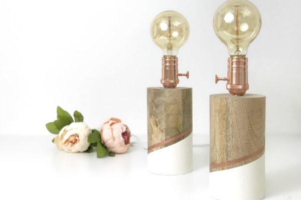 DIY Lampen, Nachttischlampen, Holz, DIY, retro, Kupfer, Doityourself, elfenweiss, elfenweiss.de,