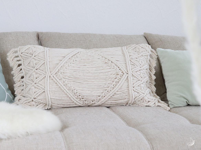 DIY Kissen-Cover Makramee Macrame Pillow Kissen knoten doityourself free pattern Anleitung elfenweiss