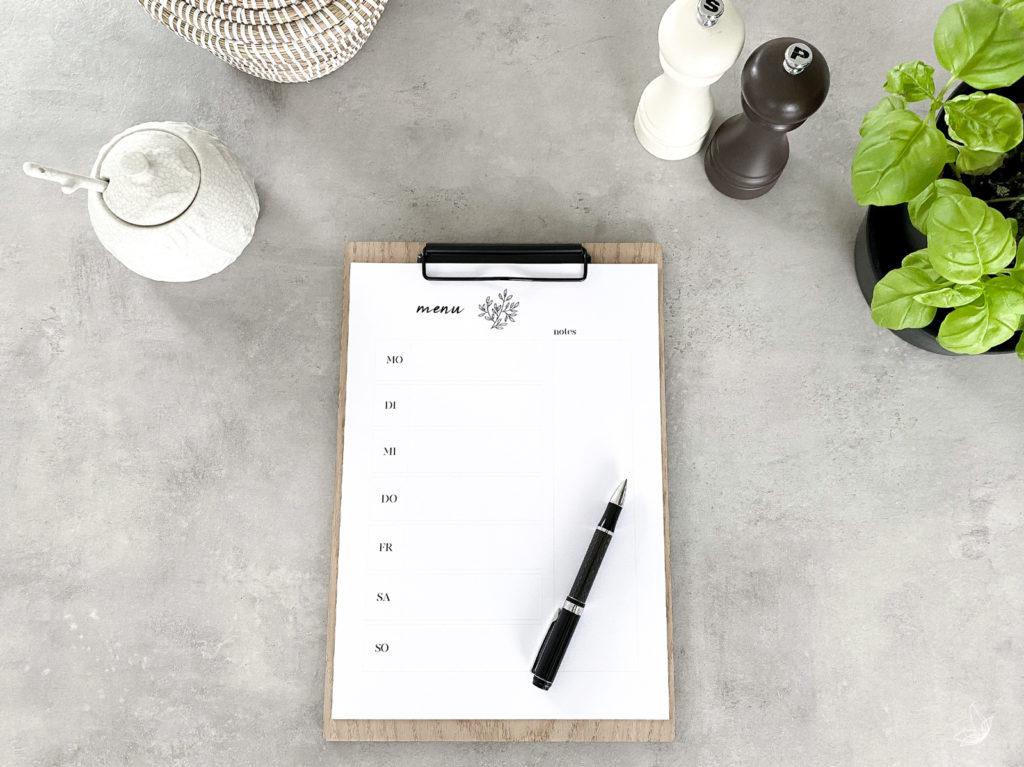 DIY Wochenplaner Menü Planer Ausdruck kostenlose Vorlage Essensplaner DINA4